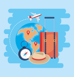 Travel baggage with global map and locations signs vector