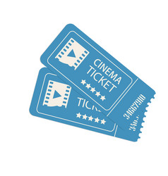 two cinema tickets isolated on white vector image