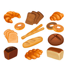 Various types baked goods realistic style vector