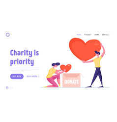 Volunteering and charity landing page template vector