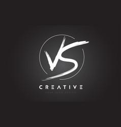 vs brush letter logo design artistic handwritten vector image