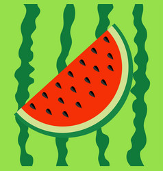 Watermelon slice icon cut half seeds red fruit vector