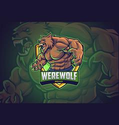Werewolf esports logo design vector