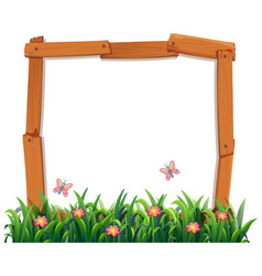 Wood nature frame template vector