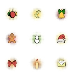 Xmas icons set pop-art style vector image