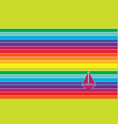 yacht in ocean - vivid colorful striped vector image