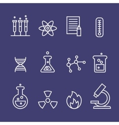 Science and chemistry research thin line icons vector image vector image