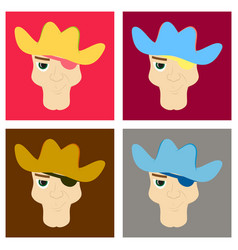 Set of portrait man in cowboy hat flat vector