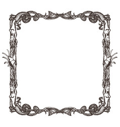 square frame engraving on nautical and marine vector image vector image