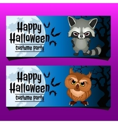 Two horizontal card for happy Halloween vector image vector image