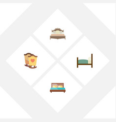 Flat bedroom set of hostel bed crib and other vector