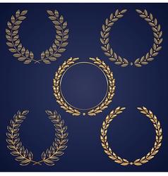 set of golden laurel wreaths vector image vector image