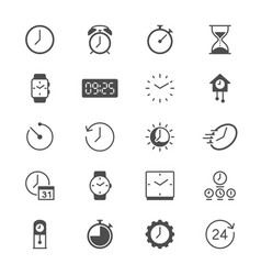 time and clock flat icons vector image vector image