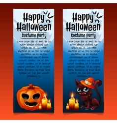 Two happy Halloween cards with cat and pumpkin vector image vector image