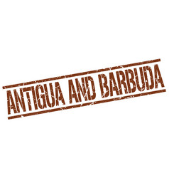 antigua and barbuda brown square stamp vector image vector image