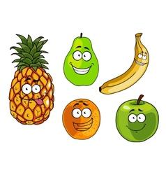 Cartoon apple banana orange pineapple and pear vector image