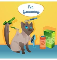 Cat character in groom salon vector image vector image