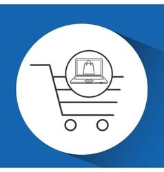 e-commerce cart shop laptop gift icon vector image