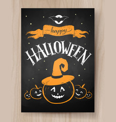 halloween design with lettering and pumpkin vector image vector image