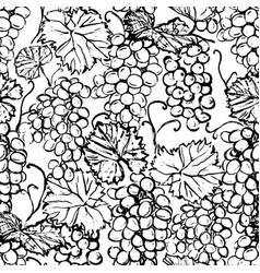 ink hand drawn seamless pattern with grape vector image