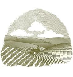 rural farm scene vignette vector image vector image
