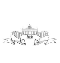 Berlin label famous german landmark travel vector