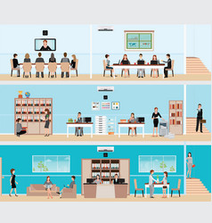 business people in the interior of the building vector image vector image