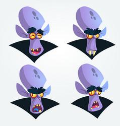 cartoon vampire heads icons vector image vector image