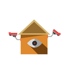 cctv cameras on isolated element in house shape vector image