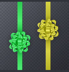 set of gift ribbons with realistic bow of green vector image vector image