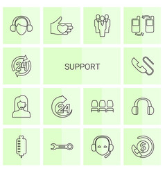 14 support icons vector image