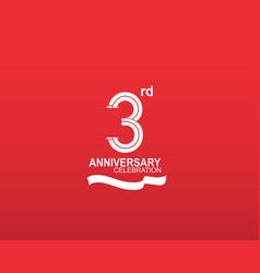 3 anniversary logotype flat design white color vector