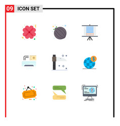 9 thematic flat colors and editable symbols vector