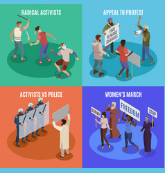 Activists 2x2 design concept vector