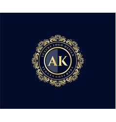 Ak initial letter gold calligraphic feminine vector