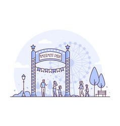 Amusement park - thin line design style vector