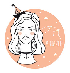 aquarius girl sketch style woman with zodiac sign vector image