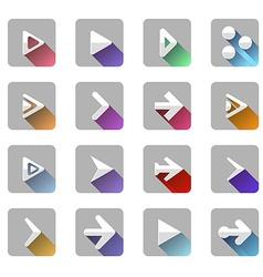 Arrow elements icon symbol colorful long shadow vector image