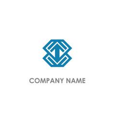 Arrow up geometry company logo vector