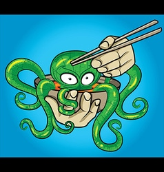 asian exotic octopus soup and chopsticks vector image