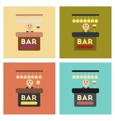 Assembly flat icons icon poker bar bartender vector