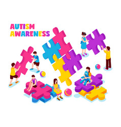 autism awareness isometric vector image