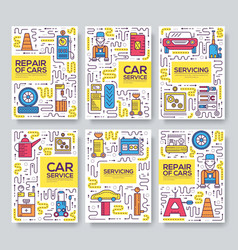 Auto service brochure cards thin line set vector