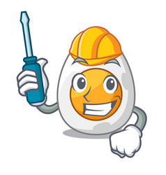 automotive freshly boiled egg isolated on mascot vector image