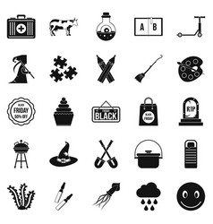 Autumn holidays icons set simple style vector