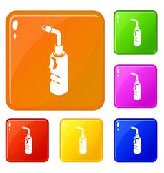 Avto welding torch icons set color vector