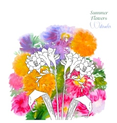 Background with summer flowers and watercolors-05 vector