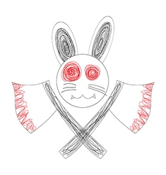 Bloody White Rabbit Axe vector