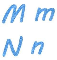 Blue sketch font set - letters m n vector