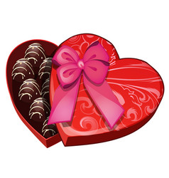 Box of chocolates in shape of heart vector
